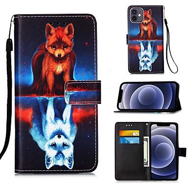 Недорогие Кейсы для iPhone-Кейс для Назначение Apple iPhone 12 / iPhone 12 Mini / iPhone 12 Pro Max Кошелек / Бумажник для карт / со стендом Чехол Животное Кожа PU