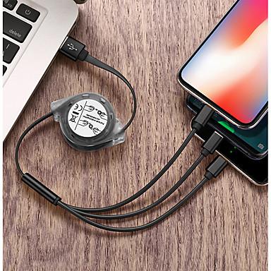 billige Telefonkabler og -adaptere-Mikro USB / Belysning / Type-C Kabel 2.4 A 1,0 m (3 ft) Alt-i-En / Flettet / 1 til 3 TPE USB-kabeladapter Til iPad / Samsung / Huawei
