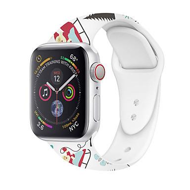 Недорогие Ремешки для Apple Watch-Ремешок для часов для Apple Watch Series 6 / SE / 5/4 44 мм / Apple Watch Series 6 / SE / 5/4 40 мм Apple Классическая застежка / Мультфильм группа силиконовый Повязка на запястье