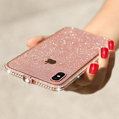 Недорогие Кейсы для iPhone-Кейс для Назначение Apple iphone 7/8 Защита от удара / Стразы Бампер Однотонный Металл