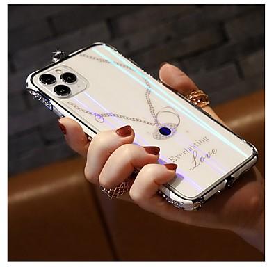 Недорогие Кейсы для iPhone-чехол для iphone 11 / iphone 11 pro / iphone 11 pro max / iphone x / iphone xs / iphone xr / iphone 7/8 противоударный бампер со стразами однотонный металл