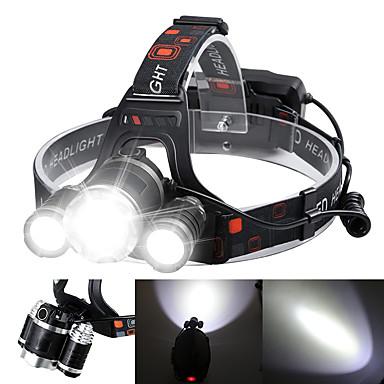 ieftine Frontale-Boruit® RJ-3000 Frontale Becul farurilor Lanternă Zoomable Reîncărcabil 3000/5000 lm LED 3 emițători 4.0 Mod Zbor cu Baterii și Încărcătoare Zoomable Reîncărcabil Mască exterioară lanternă Unghi