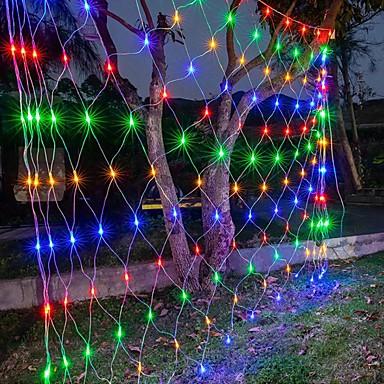 رخيصةأون LED وإضاءة-6mx4m 672 LEDs صافي أضواء الستار أضواء شبكة صيد لعيد الميلاد عطلة ديكور الحفلات أضواء سلسلة خارجية مع 8 أوضاع غير مقاومة للماء قابلة للربط 220-240 فولت