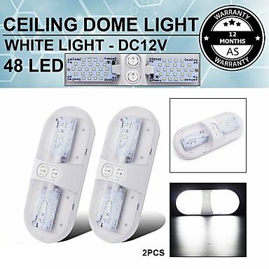 Недорогие Освещение салона авто-1 шт. 24 светодиода 6,8 Вт 6000 К внутренний переключатель натуральный белый потолочный купол прицеп светильник автомобиль лодка грузовик 2 цвета на выбор
