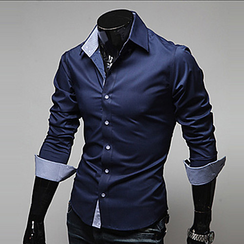Men's Shirt Solid Colored Plus Size Basic Long Sleeve Daily Tops Business Wine White Black