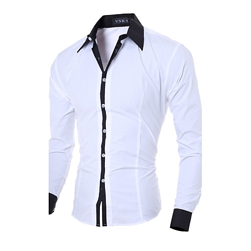 Men's Shirt Solid Colored Long Sleeve Daily Tops Business White Black Blue
