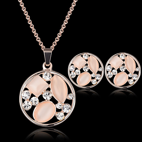 Crystal Jewelry Set Pendant Necklace Ladies Party Fashion Cubic Zirconia Opal Rose Gold Plated Earrings Jewelry Pink For Party Special Occasion Anniversary Birthday Gift