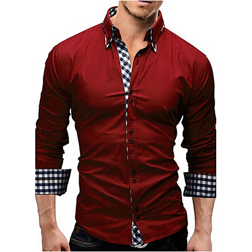 Men's Shirt Solid Colored Long Sleeve Daily Tops Business White Black Red