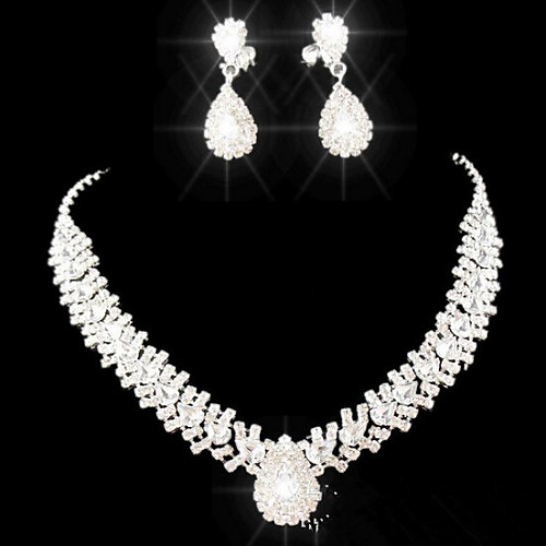 Crystal Jewelry Set Pendant Necklace Tassel Fringe Pear Cut Drop Ladies Elegant Fashion everyday Party Imitation Diamond Earrings Jewelry White For Party Special Occasion Anniversary Birthday Gift