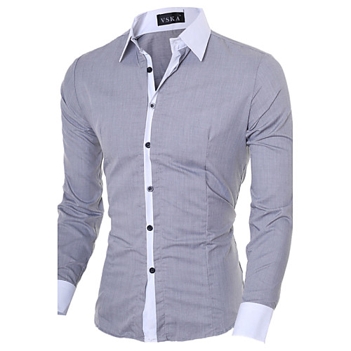 Men's Shirt Solid Colored Long Sleeve Daily Tops Business Casual White Black Blue