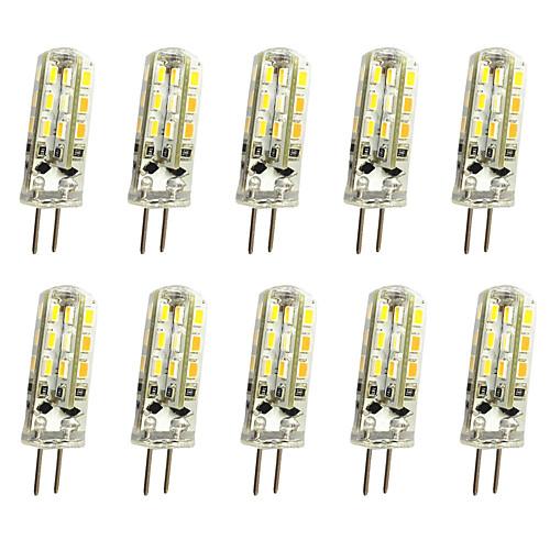 10pcs 1 W LED Bi-pin Lights 120 lm G4 T 24LED LED Beads SMD 3014 Decorative Warm White Cold White 12 V / 10 pcs / RoHS