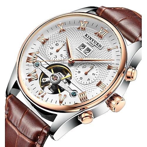 KINYUED Men's Skeleton Watch Mechanical Watch Automatic self-winding Luxury Water Resistant / Waterproof Leather Black / Brown Analog - White Black Gold / Black / Japanese / Calendar / date / day