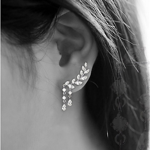 Women's Cubic Zirconia Stud Earrings Ear Climbers Climber Earrings Leaf Drop Ladies Simple Tassel Elegant Blinging everyday Earrings Jewelry Gold / Silver For Wedding Party Gift Daily Masquerade