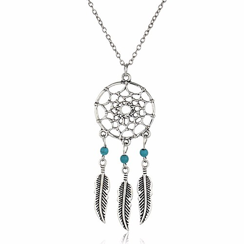 Women's Turquoise Pendant Necklace Chain Necklace Leaf Wings Dream Catcher Vintage Bohemian Fashion Turquoise Alloy Silver Necklace Jewelry For Gift Daily Casual Street Club
