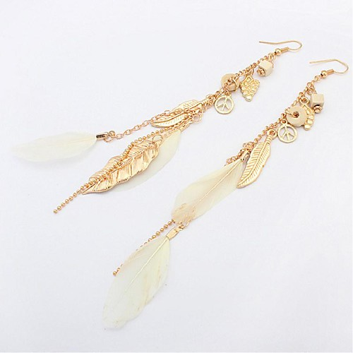 Turquoise Drop Earrings Long Leaf Feather Ladies Vintage Fashion Elegant western style Feather Earrings Jewelry Black / Coffee / Green For Carnival Birthday