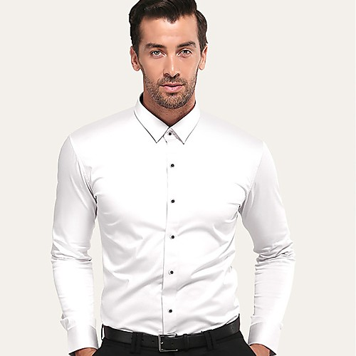 Муж. Для вечеринок / Офис Рубашка Хлопок Деловые / Классический Однотонный Белый XXL / С короткими рукавами / Длинный рукав