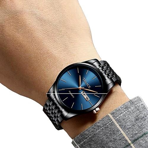 Men's Dress Watch Wrist Watch Quartz Stainless Steel Black / Silver / Gold Water Resistant / Waterproof Calendar / date / day Chronograph Analog Luxury Classic Fashion - Blue / Black Black / Blue