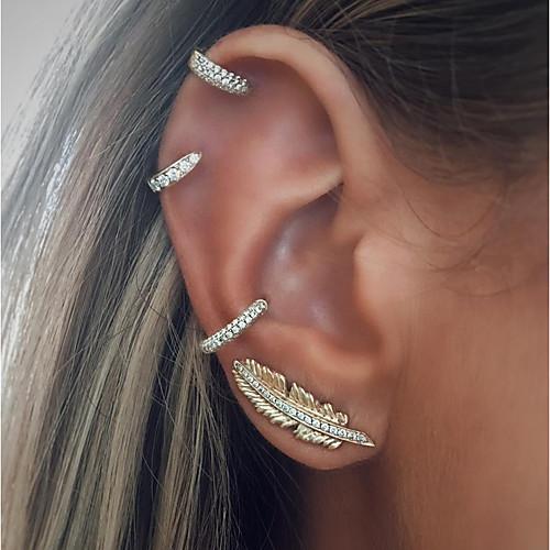 Women's Ear Piercing Stud Earrings Clip on Earring cuff Leaf Ladies Vintage Fashion Earrings Jewelry Silver For Holiday Bar 4pcs