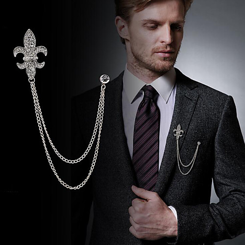Men's Cubic Zirconia Brooches Stylish Link / Chain Statement Fashion British Brooch Jewelry Black / Gray Silver Gold For Daily Holiday