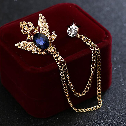 Men's Cubic Zirconia Brooches Stylish Link / Chain Elegant Fashion British Brooch Jewelry Blue Black For Wedding Holiday