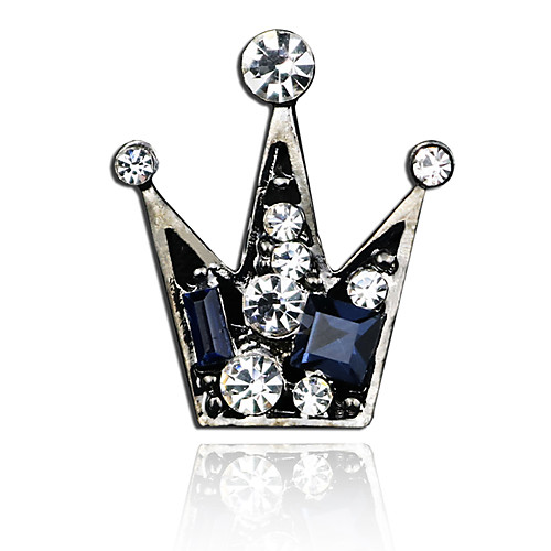 Men's Cubic Zirconia Brooches Retro Stylish Creative Crown Luxury Fashion British Brooch Jewelry Gray Silver Gold For Party Daily