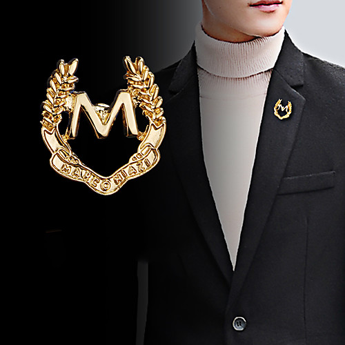 Men's Cubic Zirconia Brooches Classic Stylish Creative Letter Unique Design Fashion British Brooch Jewelry Silver Gold For Party Daily
