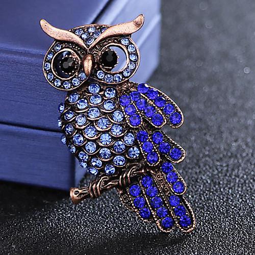 Men's Sapphire Cubic Zirconia Brooches Vintage Style Stylish Bird Luxury Fashion British Imitation Diamond Brooch Jewelry Blue For Daily Holiday