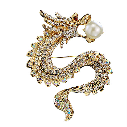 Men's Cubic Zirconia Freshwater Pearl Brooches Stylish Tennis Chain Dragon Creative Statement Luxury Chinoiserie Rhinestone Brooch Jewelry Gold Silver For Daily Formal
