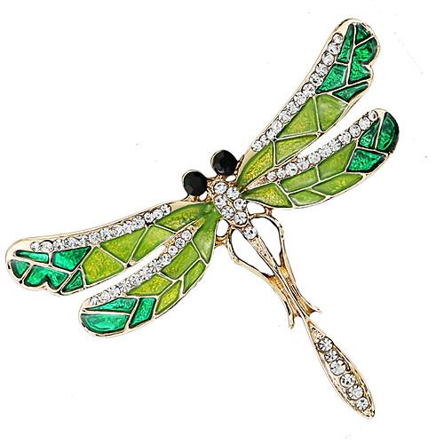 Women's Cubic Zirconia Brooches Stylish Tennis Chain Creative Dragonfly Luxury Baroque Fashion Rhinestone Brooch Jewelry Green For Wedding Daily