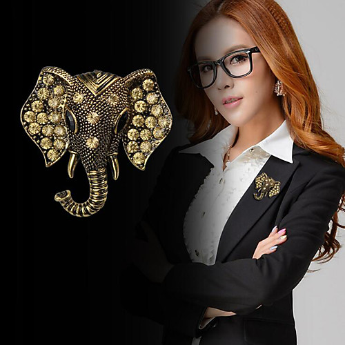 Women's Cubic Zirconia Brooches Vintage Style Stylish Elephant Creative Statement Fashion British Brooch Jewelry Gold Silver For Daily Holiday