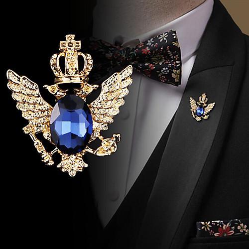 Men's Cubic Zirconia Brooches Retro Stylish Elegant Fashion British Brooch Jewelry Blue Black For Wedding Holiday