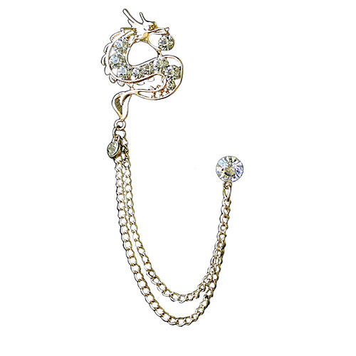 Men's Cubic Zirconia Freshwater Pearl Brooches Stylish Link / Chain Dragon Creative Statement Luxury Chinoiserie Rhinestone Brooch Jewelry Gold Silver For Wedding Evening Party