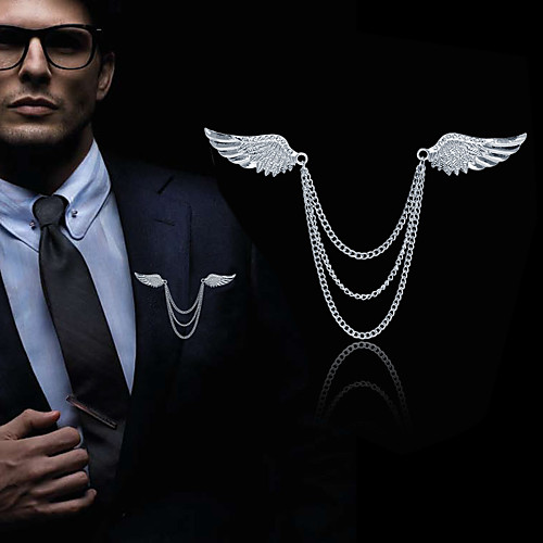 Men's Cubic Zirconia Brooches Stylish Link / Chain Creative Angel Wings Statement Fashion British Brooch Jewelry Silver Gold For Daily Holiday