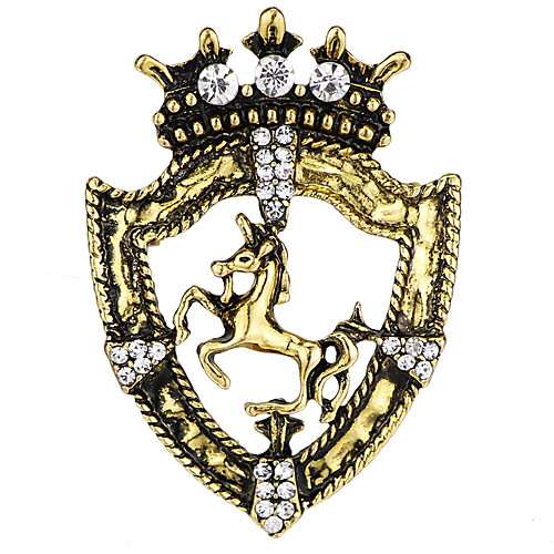 Men's Cubic Zirconia Brooches Vintage Style Stylish Horse Creative Vintage Fashion Ancient Rome Brooch Jewelry Gold Silver For Party Daily