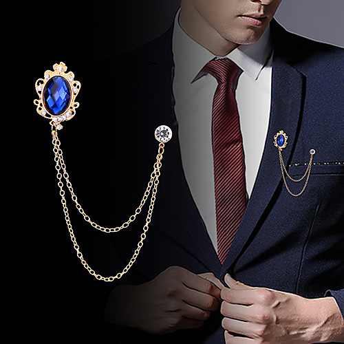 Men's Cubic Zirconia Brooches Stylish Link / Chain Creative Statement Fashion British Brooch Jewelry Royal Blue Black For Party Daily