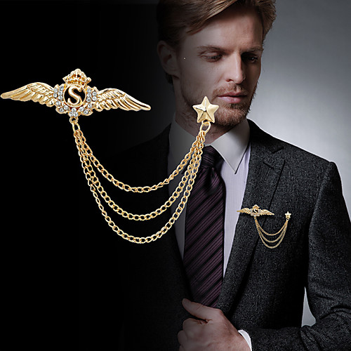 Men's Cubic Zirconia Brooches Stylish Link / Chain Creative Wings Statement Fashion British Brooch Jewelry Silver Gold For Party Daily