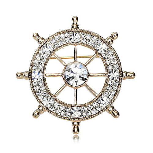 Men's Cubic Zirconia Brooches Classic Stylish Creative Anchor Luxury Fashion British Brooch Jewelry Gold / White Silver-Blue White / Sliver For Party Daily
