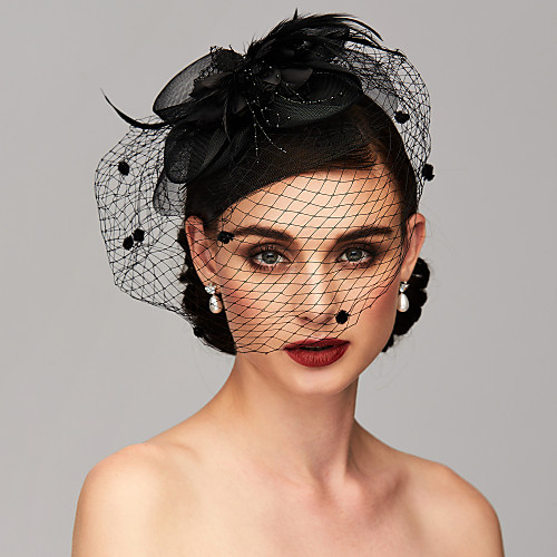 Elegant & Luxurious Feather Mesh Kentucky Derby Hat Fascinators Headpiece with Feather Floral Flower 1pc Wedding Special Occasion Tea Party Headpiece