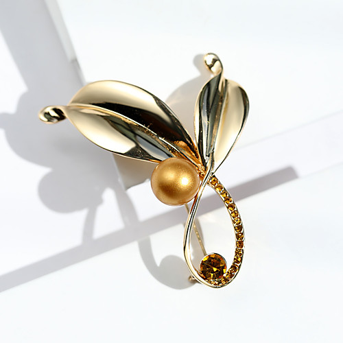 Women's Brooches Classic Leaf Ladies Stylish Korean Pearl Rhinestone Platinum Plated Brooch Jewelry Gold Gold / White Silver / Black For Daily / Gold Plated