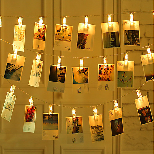 2M 20 pcs LED Photo String Lights 20 Photo Clips Battery Powered or USB Interface Fairy Twinkle LightsHanging Photos Cards and Artwork Warm White