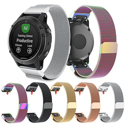 Smartwatch Band for Forerunner 935 / Fenix 5 Plus / Approach S60 Garmin Milanese Loop Stainless Steel Band Fashion Wrist Strap