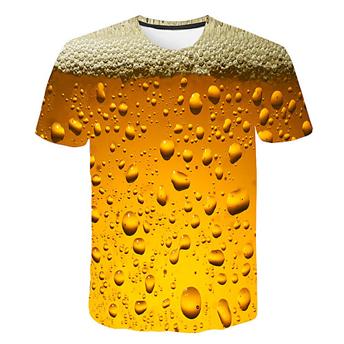 T shirt Men's Graphic Beer 3D Print Print Daily Short Sleeve Tops Basic Streetwear Purple Red Yellow