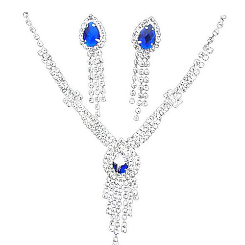 Sapphire Crystal Citrine Jewelry Set Pendant Necklace Tassel Pear Cut Ladies Tassel Party Fashion Cubic Zirconia Silver Plated Earrings Jewelry Yellow / Blue For Party Special Occasion Anniversary