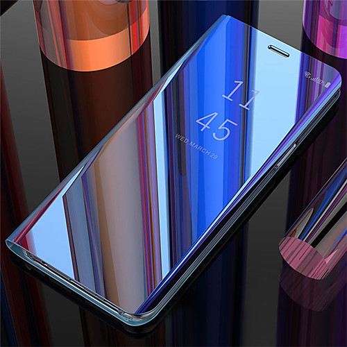 Mirror Flip Case For Samsung Galaxy Galaxy S10 / Galaxy S10 Plus / Galaxy S10 E Mirror / Flip / Stand Cover /Auto Sleep / Wake Up Back Cover Solid Colored Hard PU Leather