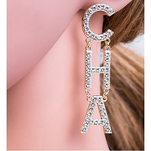 Women's Silver Gold Drop Earrings Alphabet Shape Letter European Elegant Initial Gold Plated Imitation Diamond Earrings Jewelry Gold / Silver For Daily 1 Pair