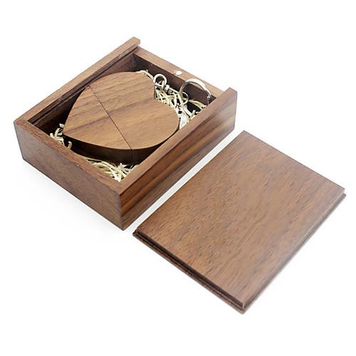 Ants Wooden Heart Shape USB Flash Drive 64G USB Disk USB 2.0 Usb 32G 16G 8G Usb Pendrive Bamboo Wooden Gift Box