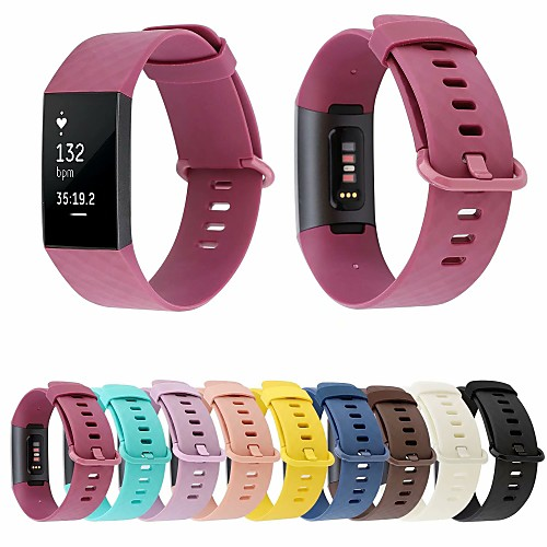 Watch Band for Fitbit Charge 3 Fitbit Classic Buckle Silicone Wrist Strap