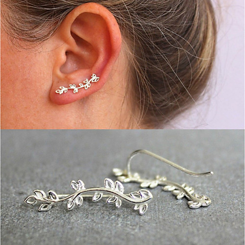 Women's Earrings Vintage Style Leaf Small Earrings Jewelry Gold / Silver For Holiday Graduation Prom Festival 1 Pair