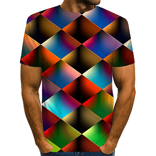 Men's Tee T shirt Shirt 3D Print Graphic Geometric Plus Size Print Short Sleeve Casual Tops Streetwear Exaggerated Round Neck Rainbow Blue Red / Summer
