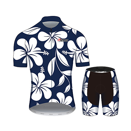 21Grams Floral Botanical Women's Short Sleeve Cycling Jersey with Shorts - Blue / White Bike Clothing Suit Breathable Quick Dry Moisture Wicking Sports 100% Polyester Mountain Bike MTB Road Bike